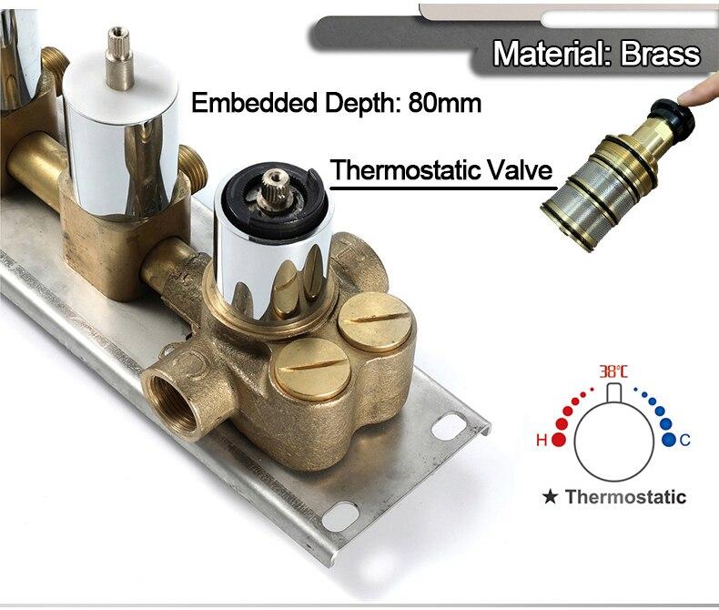 M Boenn Music Shower System Rain ShowerHeads LED Shower Set Bathroom Faucet Thermostatic Valve Matte Black/Chrome Bath Mixer Tap