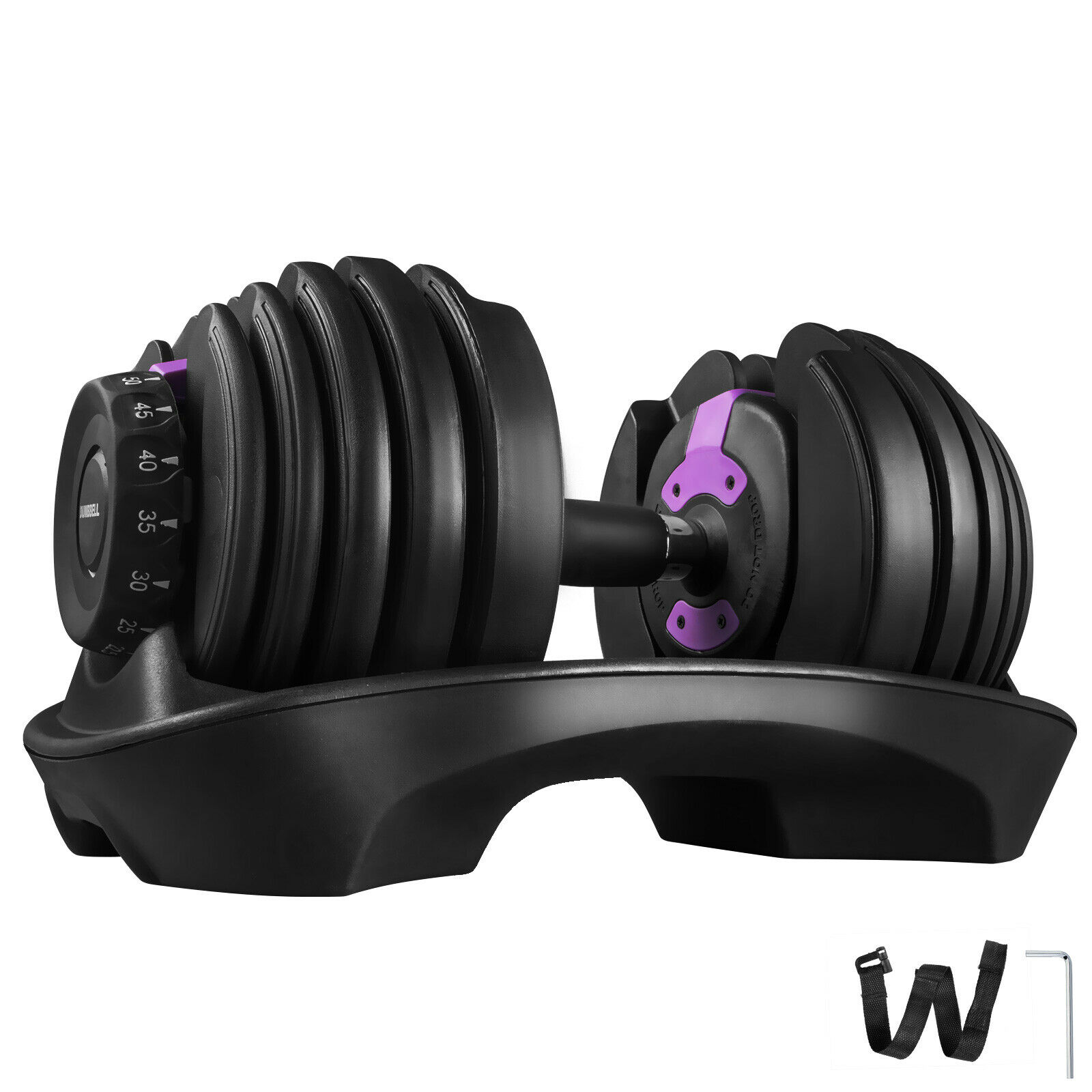 Adjustable Dumbbell Series Fitness 1pcs Purple 52.5lbs Dumbbell Standard Adjustable Dumbbell With Handle And Weight Plate