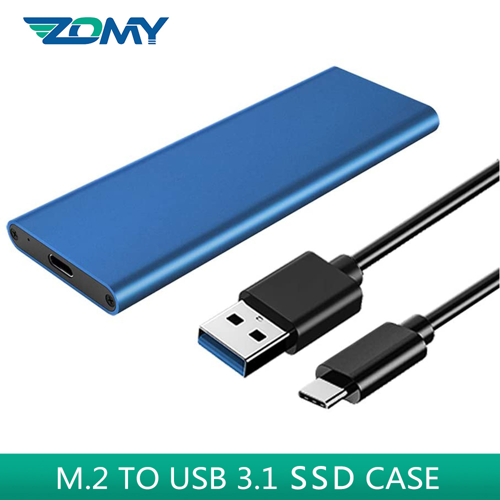 Zomy M.2 NGFF To USB 3.1 Gen2 Hard Disk SSD Case 10Gbps Portable Solid State Drives External Black Silver Enclosure HD6017