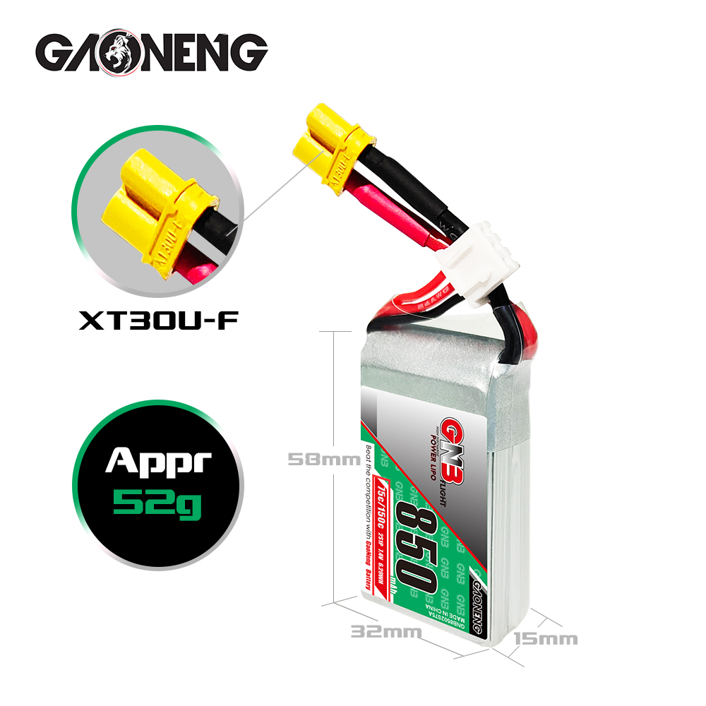 Gaoneng GNB 2S 7.4V 850mAh 75C Lipo XT30