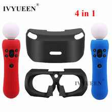 IVYUEEN 소니 PSVR 유리 보호 실리콘 스킨 케이스 플레이 스테이션 VR 이동 모션 컨트롤러 커버 PS VR 헤드셋