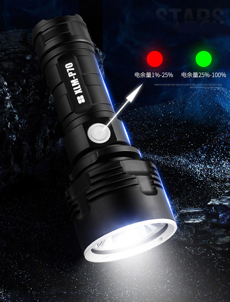 super potente recarregável usb lâmpada à prova