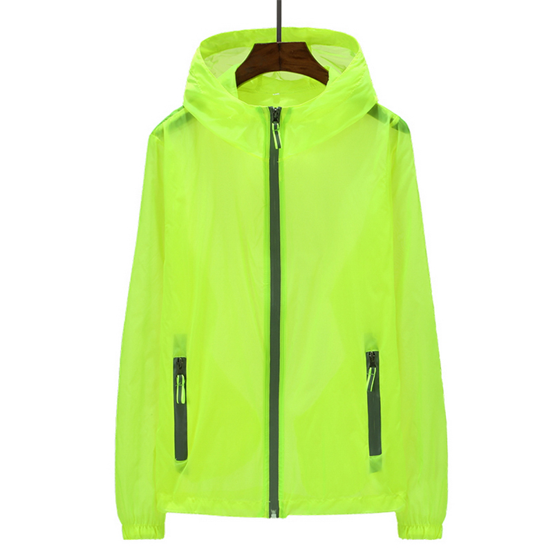 2020 Ultra Light Women Summer Outdoors Jacket Shiny Plus Size Hooded Sun protection clothing Solid Coat With Zipper Windbreaker