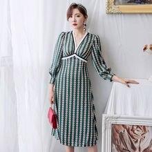 Женское винтажное платье трапеция yigelila осеннее с глубоким