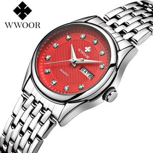 Image 1 - WWOOR reloj rojo de marca de moda para mujer, reloj de pulsera informal para mujer, reloj de acero inoxidable con fecha de cuarzo, reloj para mujer