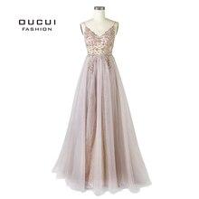 Boncuk uzun abiye 2019 tül Illusion gece elbisesi kolsuz Backless derin v yaka balo kıyafetleri kadınlar için OL103548 1