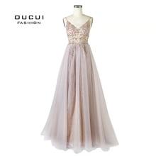 Frezowanie długie suknie wieczorowe 2019 Tulle Illusion suknia wieczorowa bez rękawów Backless głębokie dekolt suknie balowe dla kobiet OL103548 1