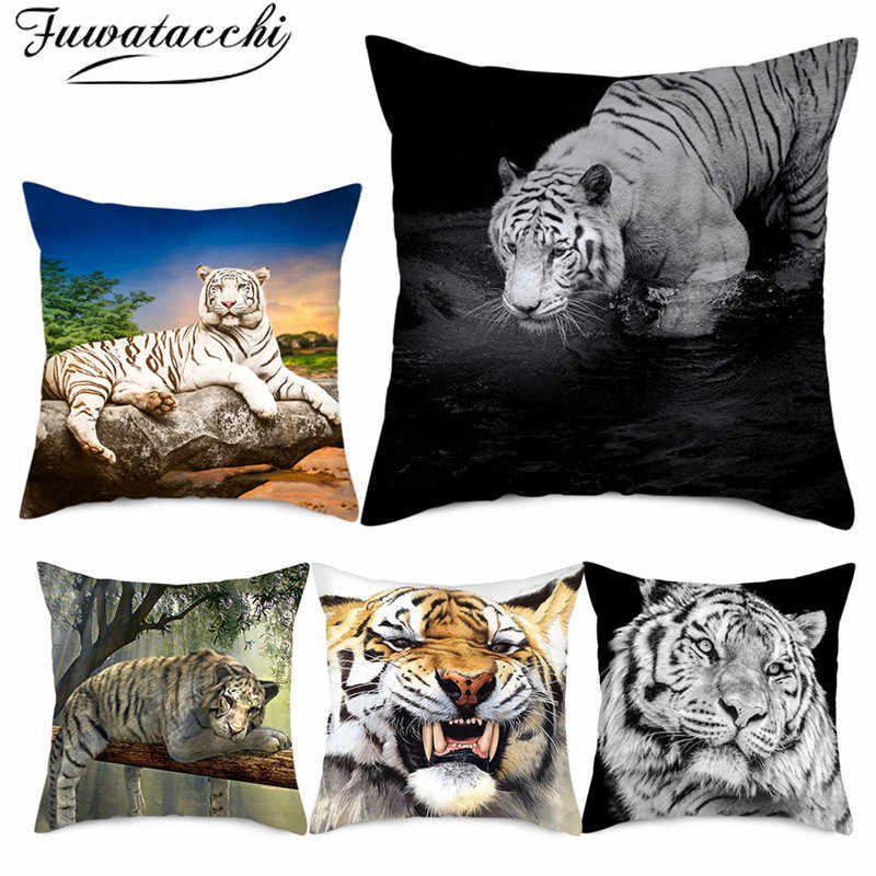 Fuwatacchi Forest Animal Cushion Covers King Tiger Pillow Cases Cotton for Bedroom Sofa Decorative Pillow Covers 45*45cm