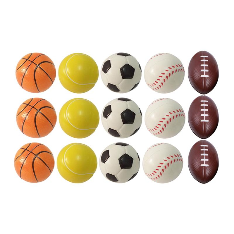 15PCS PU Balls Sponge Reduced Pressure Stress Relieving Small Squeeze Balls Sports Balls For Kids Teenager Children