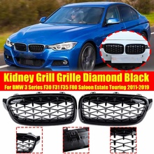 Black Pair Diamond Style Front Kidney Grill Grille For BMW 3 Series F30 F31 F35 F80 Saloon Estate  2011-2019