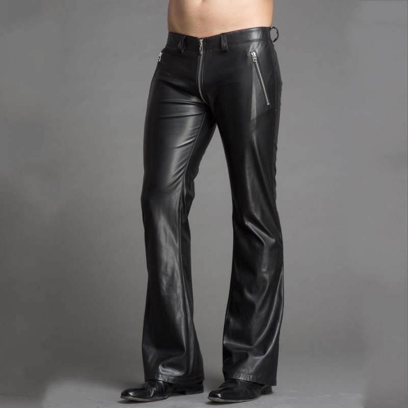 High Quality Men Pu Leather Flare Pants Plus Size Slim Fit Punk Style Personality Zipper Bell-Bottomed Pants Stage Show Trousers 8