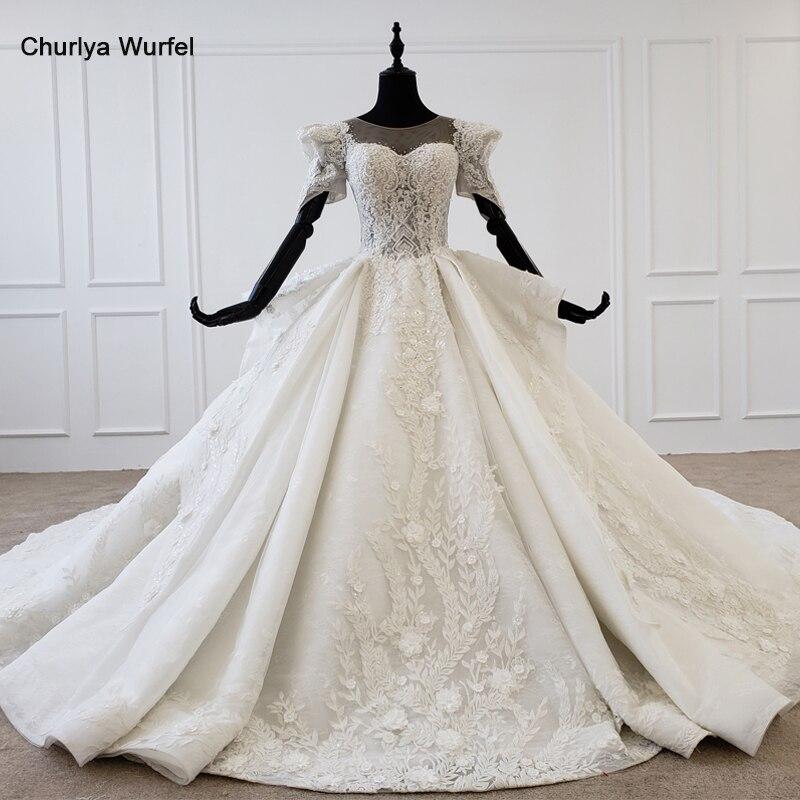 HTL1239 2020 Luxury Wedding Gowns O-neck Short Sleeve Appliques Pearl Pattern Plus Size Wedding Gown Robe De Mariée Bohème New