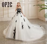 New Style Beautiful Simple Strapless Wedding Dress Black Lace Embroidery Appliques Bow Sashes Vestidos De Novia Custom Plus Size