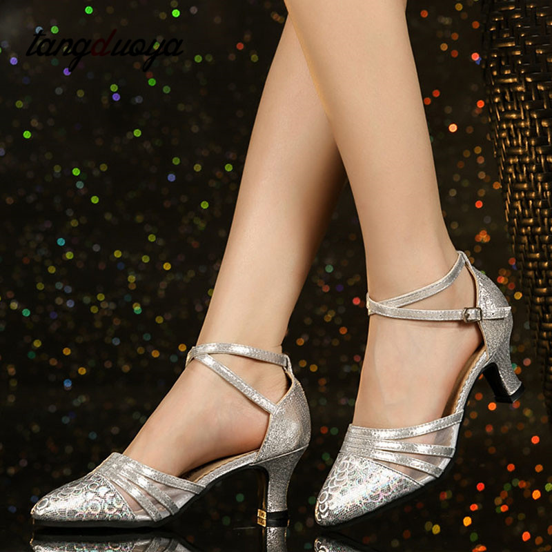 Fashion Latin Dance Shoes Female Gold Sexy Latin Dance Shoes Professional Tango Modern Dance Shoes Dance Performance Shoes Women
