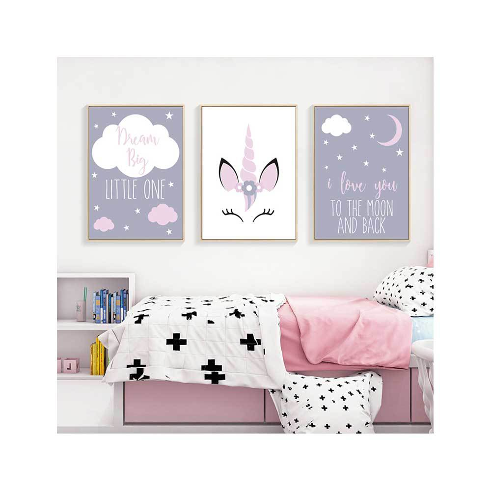 Nordic Cartoon Unicorn Cloud Canvas Painting I Love You To The Moon And Back Poster Cute Pink Girl Room Mural Decor Pictures