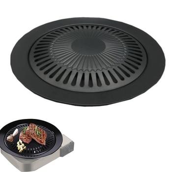 Gas Grill Korean Barbecue Plate Outdoor Picnic Smokeless Barbecue Bracket Round Portable Non-Stick Pan Iron Plate Barbecue Tool