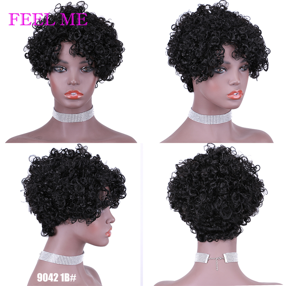 FEEL ME Pixie Cut Wig Human Hair Wigs For Black Women Afro Spiral Curly Ombre Human Hair Wig Full Machine Made Remy Hair Wigs