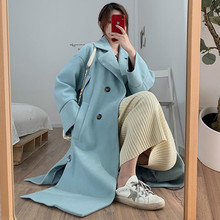 Casual woolen coat female 2019 autumn winter new Korean loose large size small fashion long womans coats warm