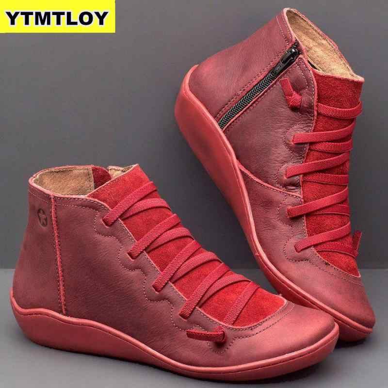 NOVAS Mulheres Ankle Boots Outono Inverno Cruz Tiras de Couro PU das Mulheres Do Vintage de Punk Botas Senhoras Planas Sapatos Mulher Botas mujer