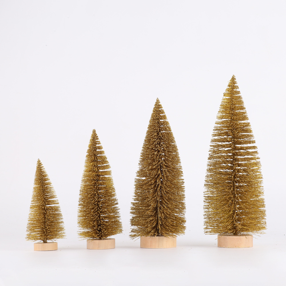New Style Christmas Decorations Christmas Desktop Furnishings Gold Pine Needle Dusting Powder Mini Small Christmas Tree