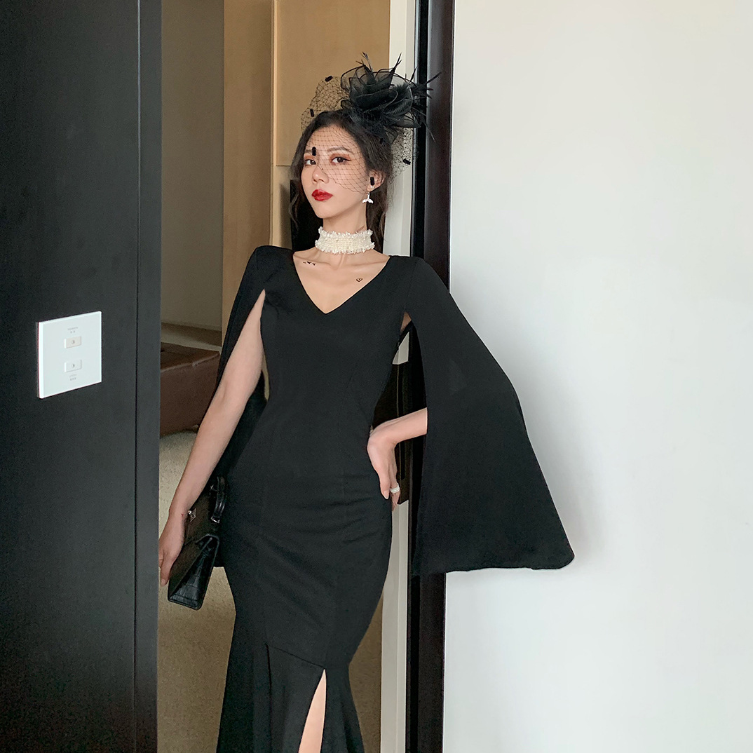 New Style Big Brand Mid-length Slimming Dress Women's Elegant Annual General Meeting Party Debutante Black And White With Patter