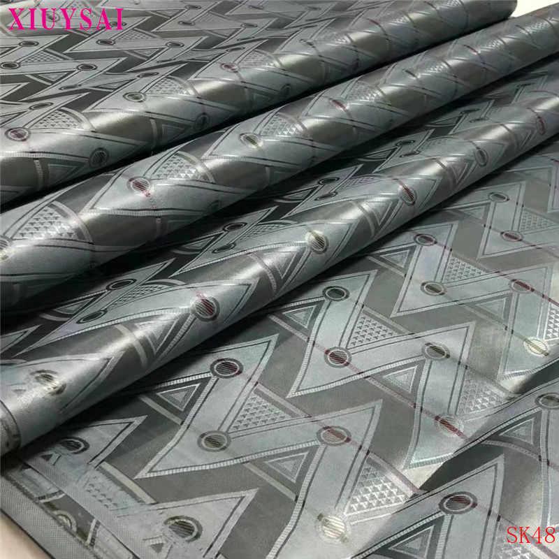 Xiuysai Africano Tessuti di Pizzo di Cotone Bazin Riche Tessuto per Il Panno 2020 Nuovo Arrivo Nigeriano Bazin Getzner Broderie Tessuto K48