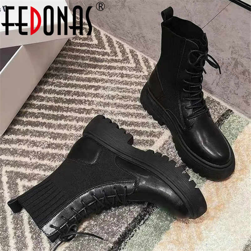 FEDONAS Winter Punk Female Motorcycle Boots Party Night Club Shoes Woman Chunky Heels Genuine Leather Knitting Women Ankle Boots