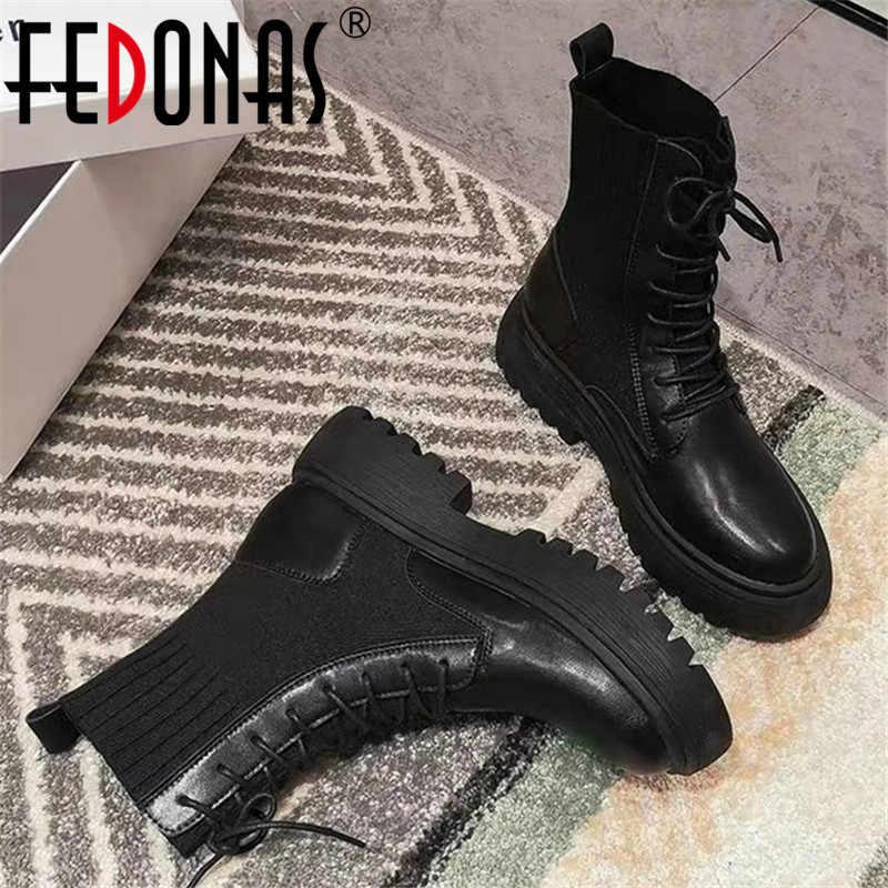 FEDONAS kış Punk kadın motosiklet botları parti gece kulübü ayakkabı kadın tıknaz topuklu hakiki deri örgü kadın yarım çizmeler