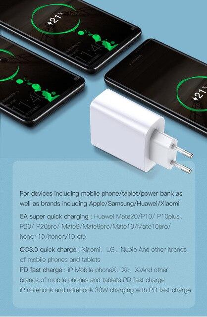 Baseus quick charge 40 30 usb зарядное устройство типа c qc