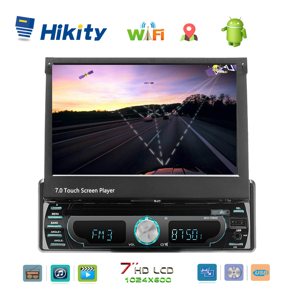 Hikity Universal Radio 1 Din Car DVD Player Stereo 7 Android GPS Receiver USB SD Bluetooth In-Dash Car Radio Multimedia Player image