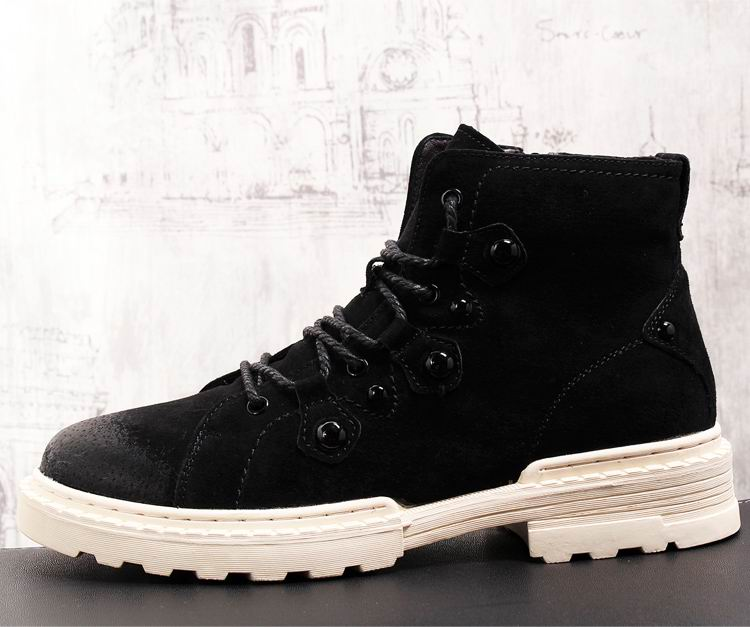 Estilo europeu dos homens preto botas casuais moda rebites foward porco camurça homem botas de tornozelo curto laço acima sapatos de segurança trabalho - 6