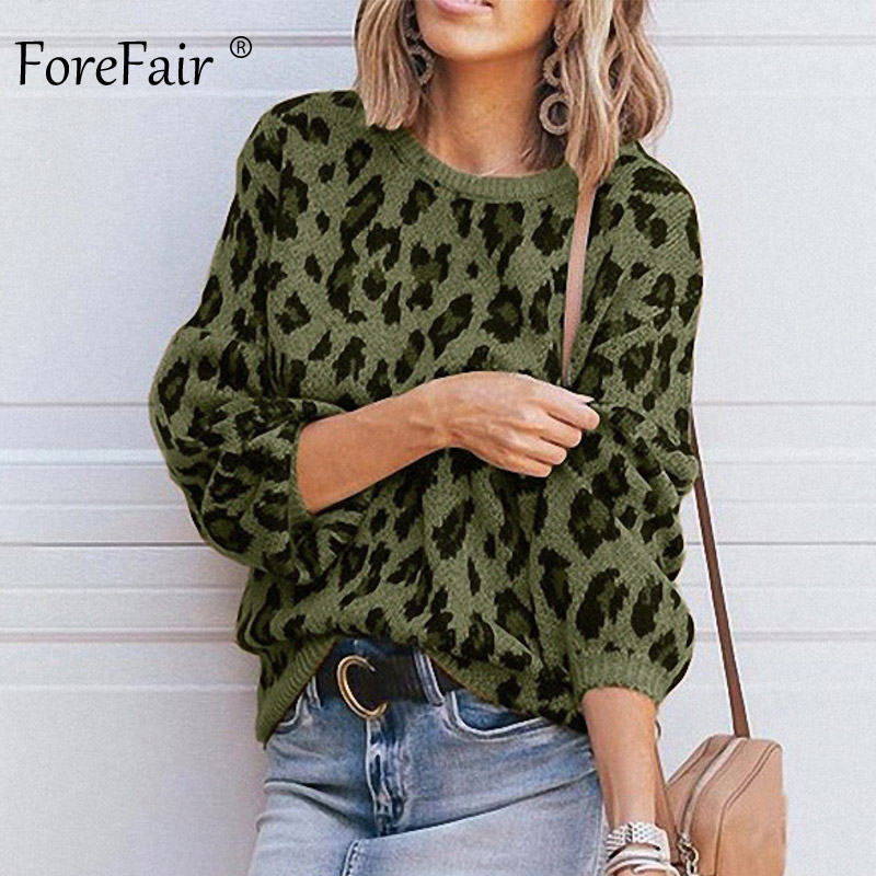 Forefair Casual Leopard Sweater Women Winter Plus Size Lantern Sleeve O Neck Loose Yellow Oversize Sweater Knitted Jumper