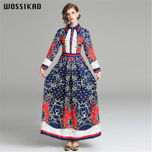 Autumn 2019 Women Dress Printed Floral Vintage Runway Formal  Elegant Dresses Vobe Ropa