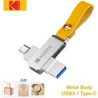 Kodak-unidad Flash USB de Metal OTG, USB 3,1, tipo de varilla C, 2 en 1, para Macbook y PC, 128GB, 64GB, 32GB