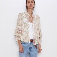 TEELYNN boho blouse 2019 Autumn vintage chiffon floral print and embroidery Blouses long sleeve Women blouses Gypsy top blusas