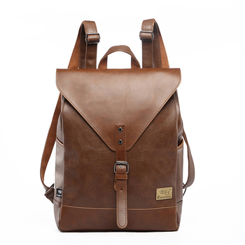 Three Box  Men Backpacks Vintage Leather Laptop Backpack Male Business Travel School Bag For Boy College Casual Daypack Mochila three box mens backpack fashion pu leather backpack leisure student school bag for women men vintage casual laptop business bags