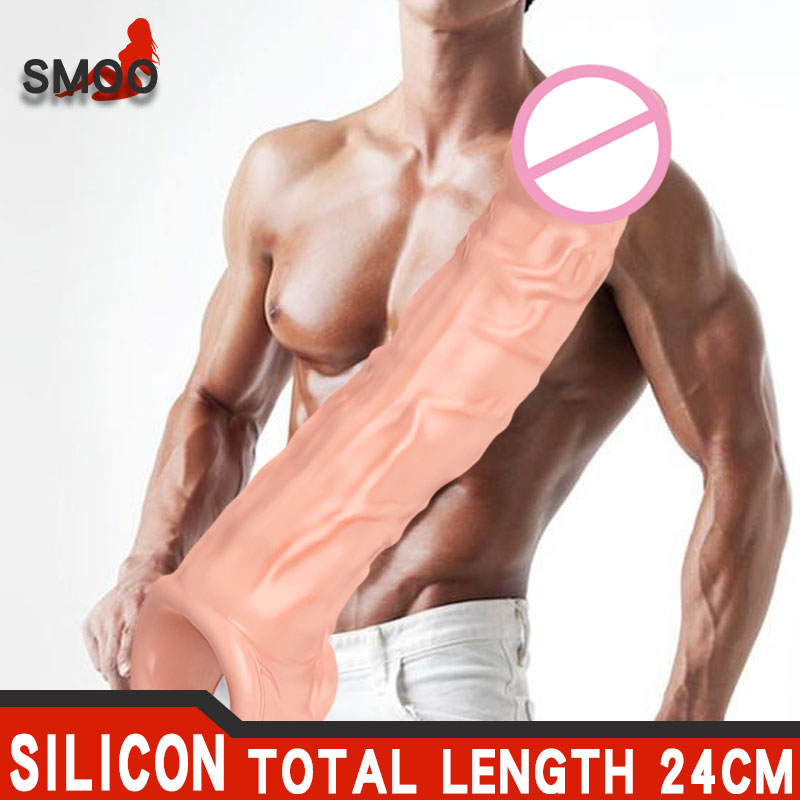 SMOO Reusable Condoms For Male Penis Enlargement Intimate Goods Thick Penis Sleeve Cock Rings For Penis Extender