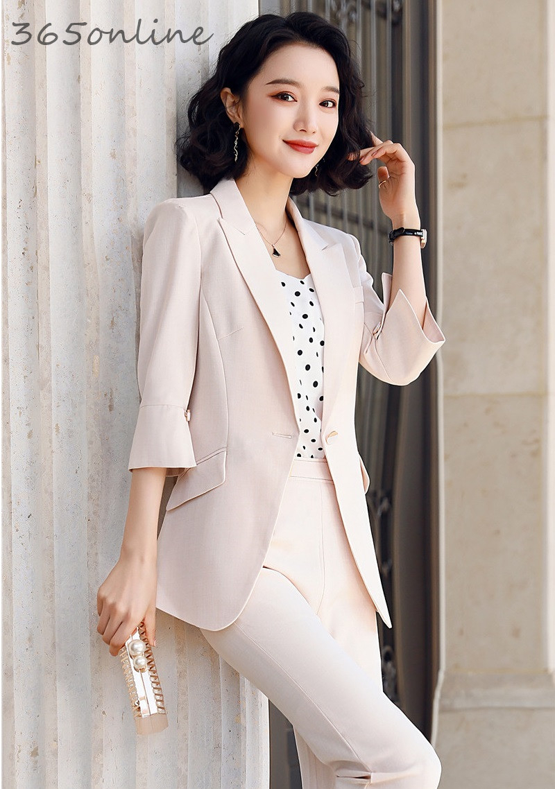 Ladies Elegant Half Sleeve Spring Summer Formal Women Business Suits With 2 Piece Set Pants And Jackets Coat Female Blazers Set