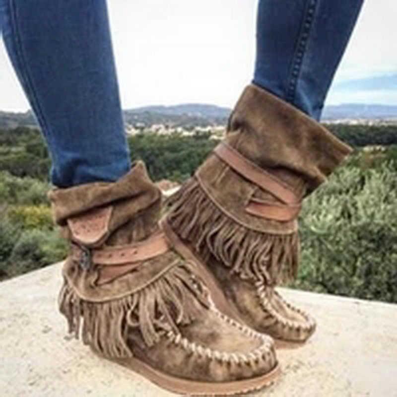 Kadın yarım çizmeler Kadın Püskül Retro Çizmeler kadın Toka Moda Süet Düz Bayanlar Kadın rahat ayakkabılar Artı Boyutu Botas Mujer