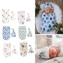 Newborn Blankets Infant Baby Boys Girls Sleeping Bag Swaddle Muslin Wrap+Hat Set D7YD