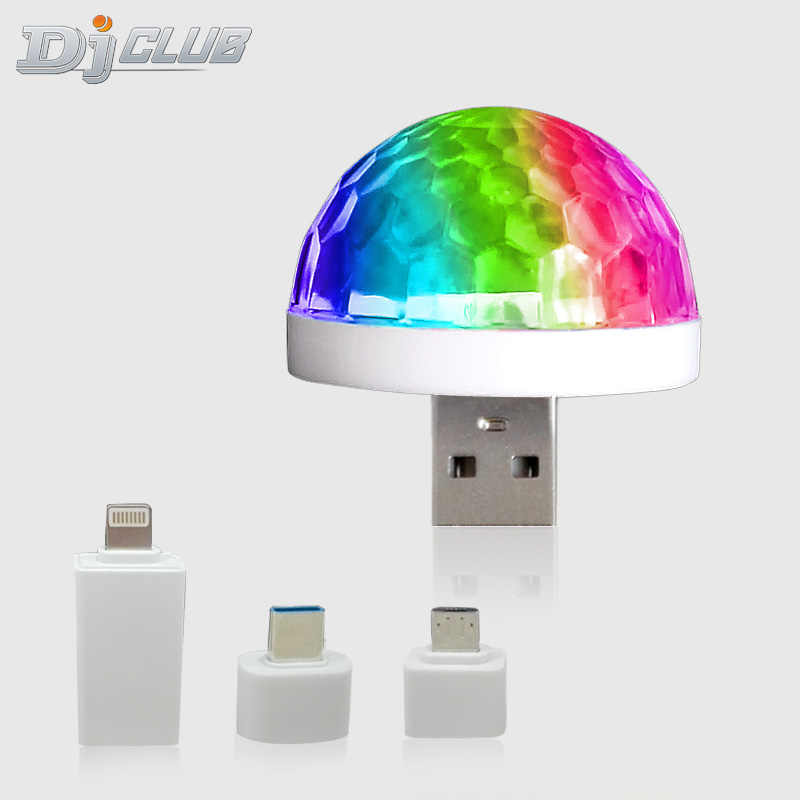 RGB Mini USB LED Party Lichter Tragbare Sound Steuer Magie Ball 3W Mini Bunte DJ Magie Disco Bühne Lichter für Mobile
