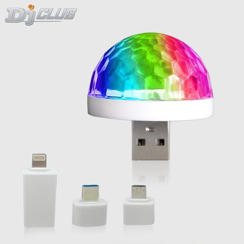 RGB USB صغير LED مصابيح حفلات التحكم الصوتي المحمولة ماجيك الكرة 3 واط صغيرة ملونة DJ ماجيك ديسكو أضواء للمسرح للجوال
