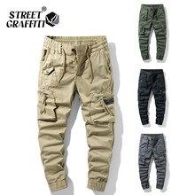 2021 nova primavera calças de carga de algodão dos homens roupas outono moda casual cintura elástica qualidade pantalones tipo carga calças