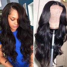 Шелковая основа передние парики человеческие волнистые волосы, для придания объема 13*4 Синтетические волосы на кружеве парики из натуральных волос для Для женщин предварительно вырезанные Реми бразильские парики