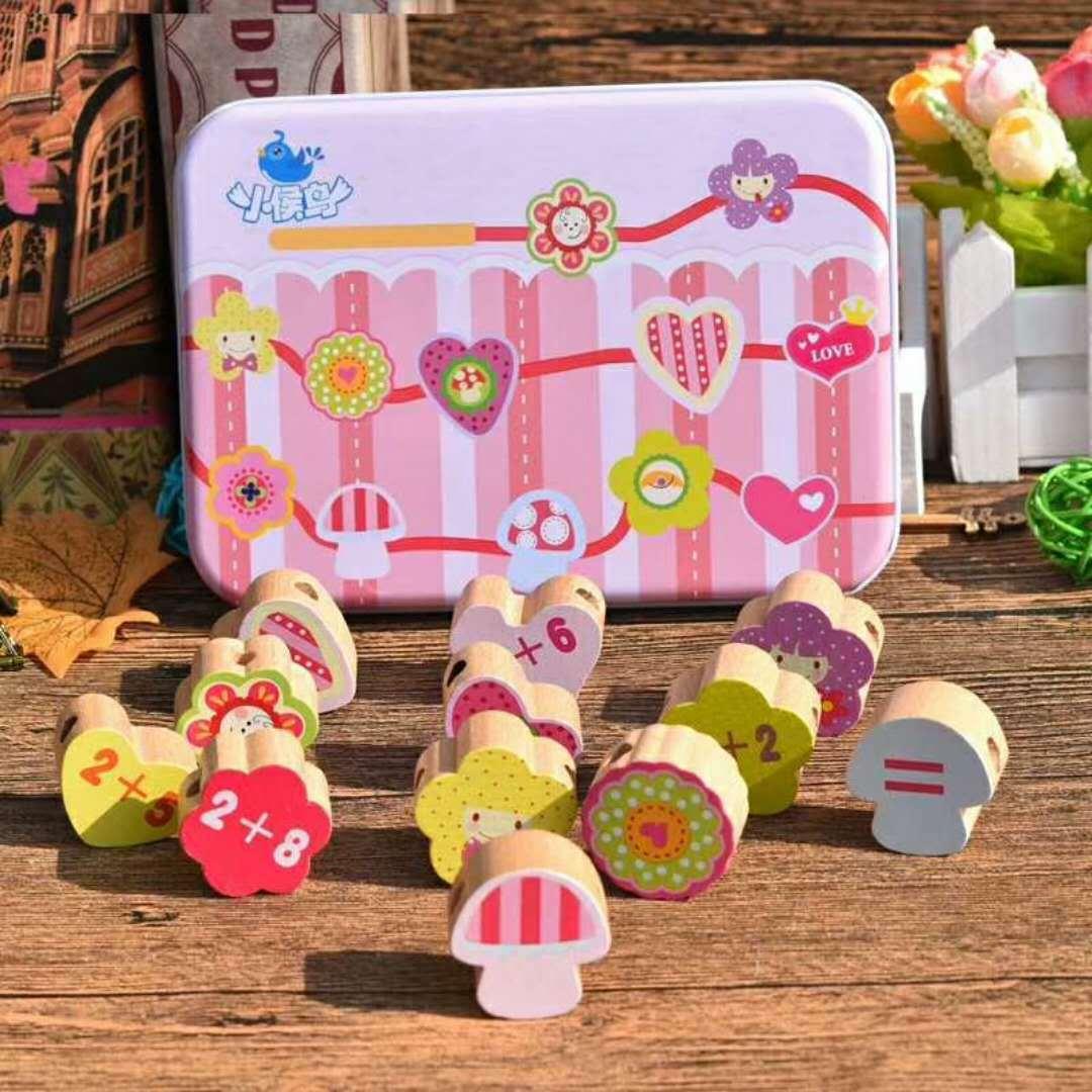 Children Beaded Bracelet Cartoon Iron Box Wooden Beads Threading Beaded Bracelet Wooden Toys GIRL'S Baby Enlightenment Building