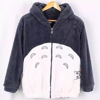 Hooded Sweatshirt Totoro Kawaii Hoodie Men Women  Harajuku Soft Plush Overcoat with Ears Plus Size Cosplay Cute Jacket Coat plus size cat print hoodie with ears