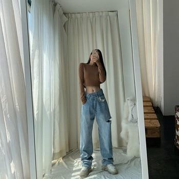 Vintage Asymmetrical Waist Straight Jeans Loose Denim