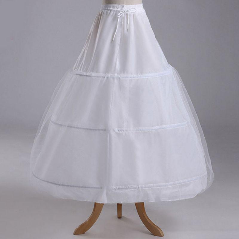 Bridal Wedding Dress Skirt Lined 3-rings 1-layer Gauze Skirt Lining Elastic Drawstring Belt Adjustable Long Slip Petticoat E15E