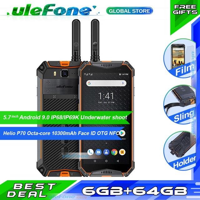 """هاتف Ulefone Armor 3WT مقاوم للماء IP68 هاتف ذكي 5.7 """"ثماني النواة 6GB + 64GB هيليو P70 أندرويد 9 10300mAh الإصدار العالمي للهاتف المحمول"""