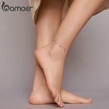 Bamoer-tobillera de mano de Fátima para mujer, Plata de Ley 925 auténtica, Ojo Azul y guardián, joyería para pies, pulsera de verano, BST004